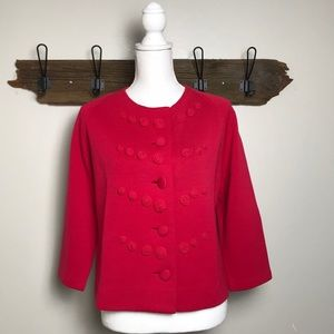 Vintage Wool Cardigan Button Front Embellishment